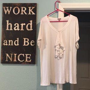 J. Jill Women's XL Shirt White with Ruffle